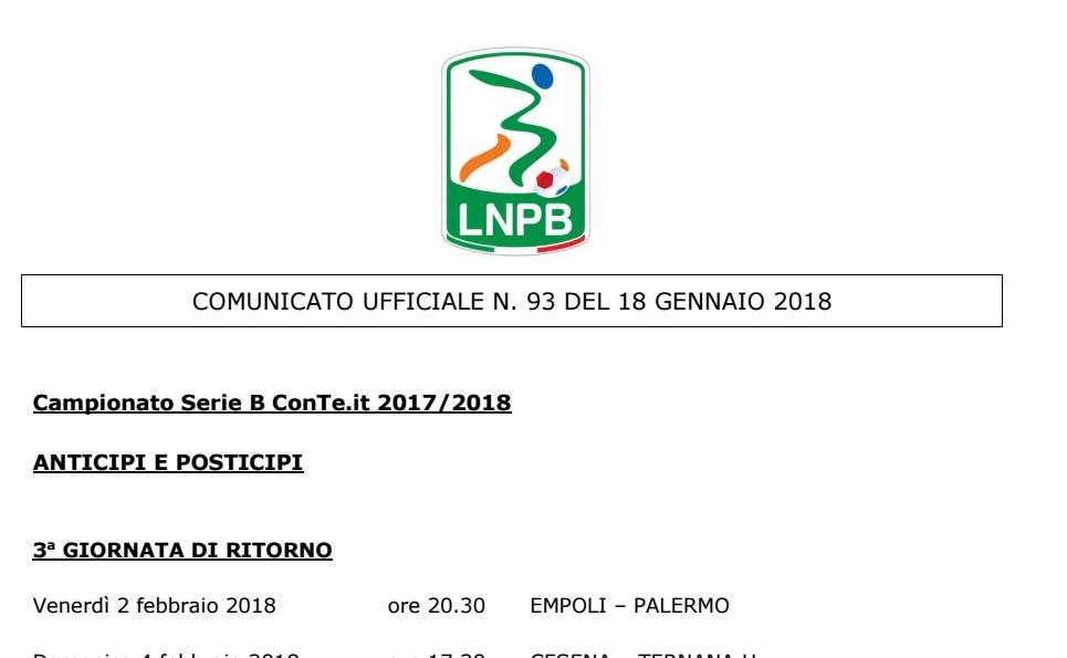 Calendario Lega Pro Girone B Anticipi E Posticipi.A Frosinone Di Domenica Pomeriggio Mondopicchio